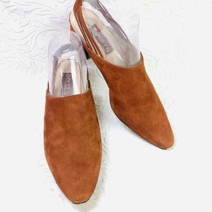 Dolcis brown suede sling back heels size 9